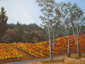 Vineyard Beyond the Eucalyptus Oil Painting